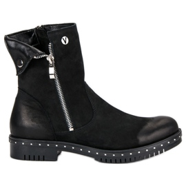 Black Boots With Leather VINCEZA