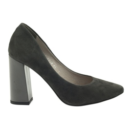 Pumps on the post Edeo 3228 gray grey