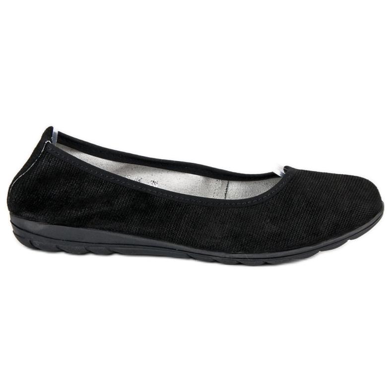 Filippo Black leather ballet shoes
