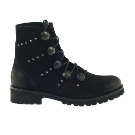 Black Boots decorated with Badura buttons and jets