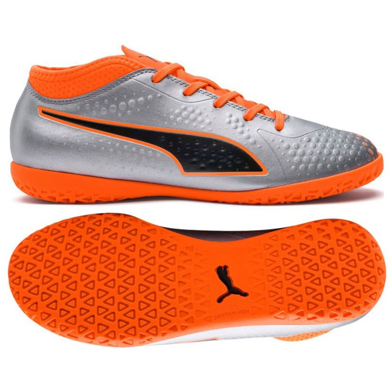 Indoor shoes Puma One 4 Son It Jr 104783 01 gray / silver silver