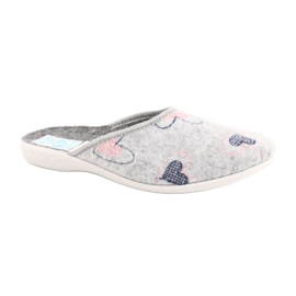Gray Felt Slippers hearts Adanex 19255 gray pink grey
