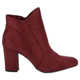 Kylie Elegant Suede Booties red