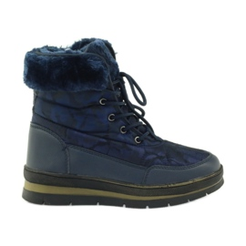 Navy Sport Snow Boots On Fur DK