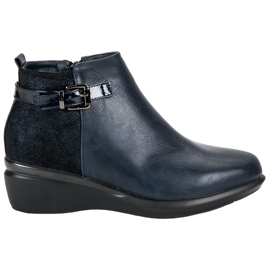 Kylie Comfortable Navy Boots With Warming