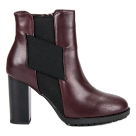 Kylie Burgundy Booties On A Bar black