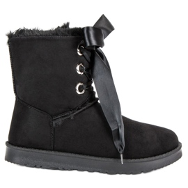 Kylie black Tied Snow Boots