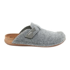 Grey Slippers felt fastened Inblu TH014 gray