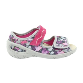 Befado children's shoes sandals leather insole 433X029 violet grey pink