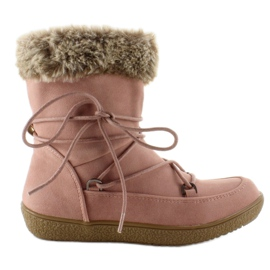 Pink Half boots for children with fur K1647201 Rose