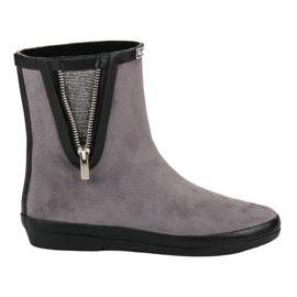 Kylie grey Suede Wellington Boots With Decorative Zip