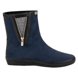 Kylie navy Suede Wellington Boots With Decorative Zip
