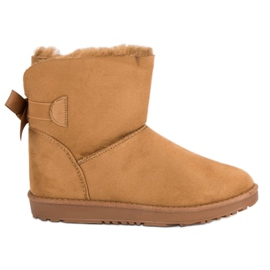 Brown Camel Snow Boots With A Bow