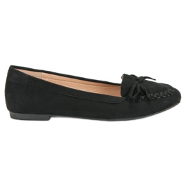 Small Swan Black moccasins with a bow