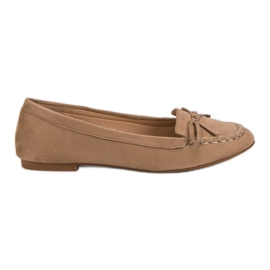 Small Swan Dark beige loafers with a bow brown