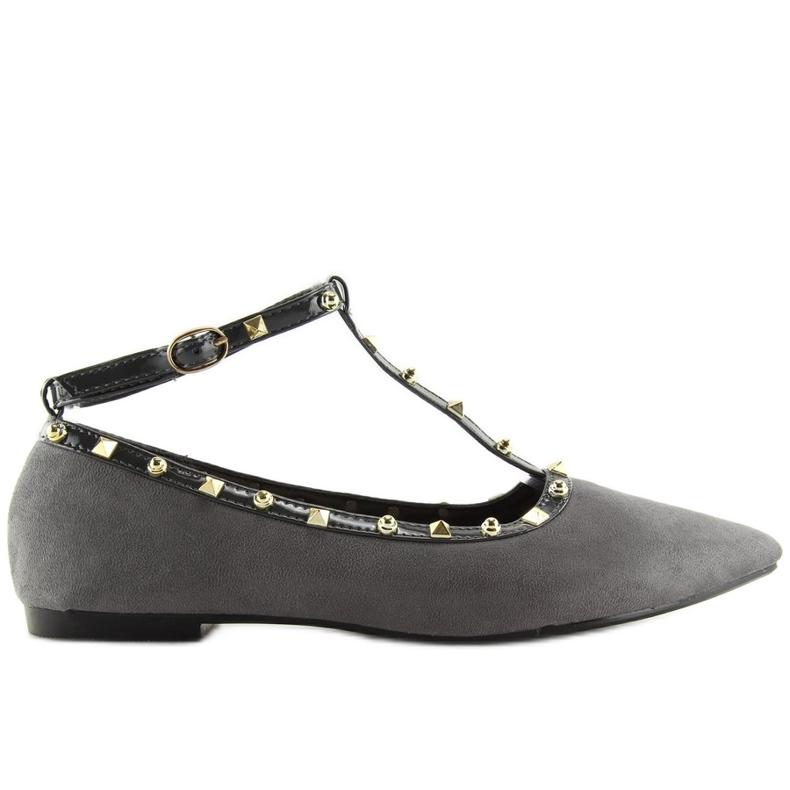 Gray heeled ballerinas 127-13 Gray grey