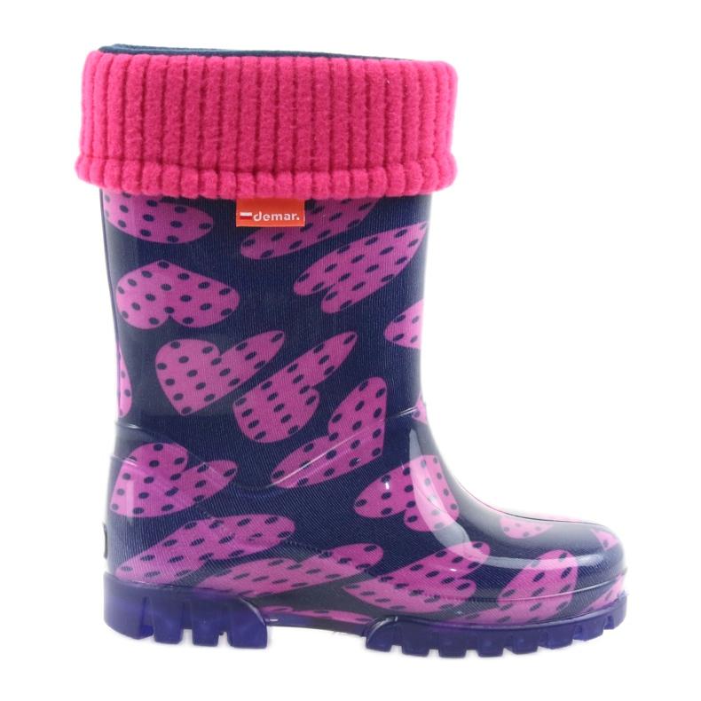 Demar rubber boots children warm socks hearts pink navy