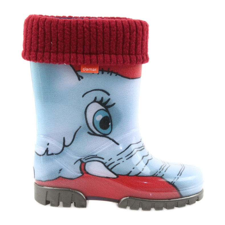 Demar children's boots wellies with a warm sock black red blue grey