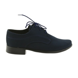 Navy Miko shoes children suede communion shoes