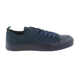 Men's shoes tied sneakers blue American Club LH05 navy