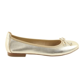 Yellow Caprice ballerinas gold shoes for women 22102