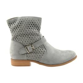 Daszyński grey Casual women's boots SA142 gray suede