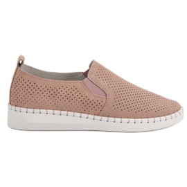 Filippo Leather Sneakers Slip On pink
