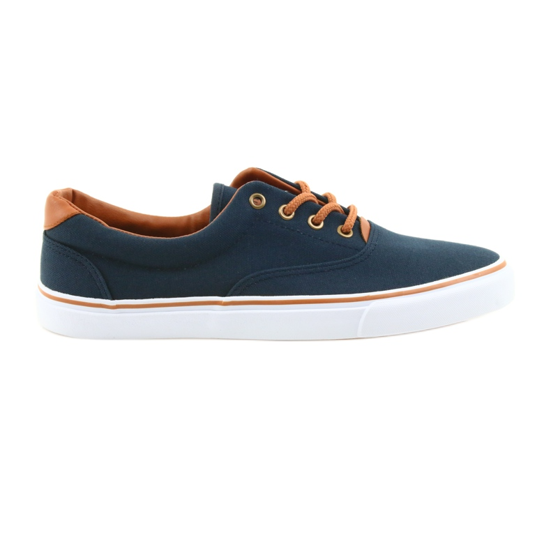 American Club Men's sneakers navy blue knotted LH03 brown