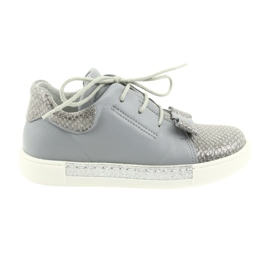 Ren But Ren shoes 3303 gray leather shoes grey