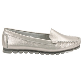 Filippo Silver Leather Loafers grey