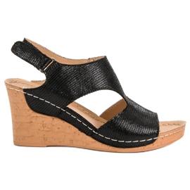 Filippo Black Wedge Sandals
