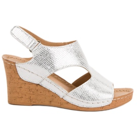 Filippo Silver Wedge Sandals grey