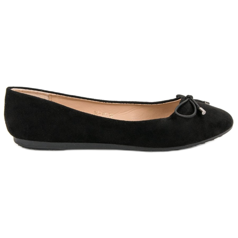 Suede Ballerinas With A Bow black
