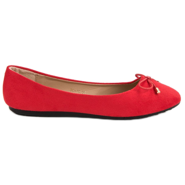 Suede Ballerinas With A Bow red