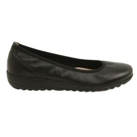 Black Comfortable leather ballerinas Caprice 22150
