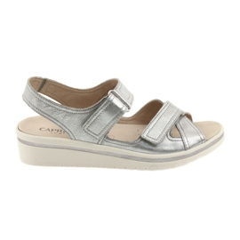 Grey Caprice sandals women's leather shoes silver