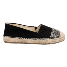 Small Swan black Suede Espadrilles With Crystals