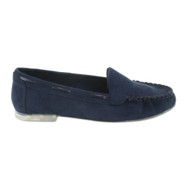 Women's suede loafers Sergio Leone 722 navy blue