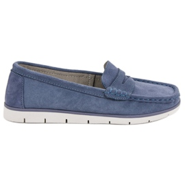 VINCEZA leather moccasins blue