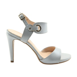 Sandals leather on a pin Edeo 3208 gray grey