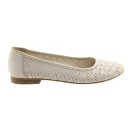 Women's ballerinas beige Angello 1780 leather brown