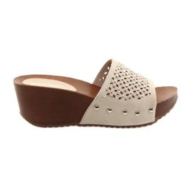 Brown Daszyński beige wedge slippers with zircons 144