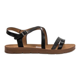 Filippo Black Sandals With Crystals