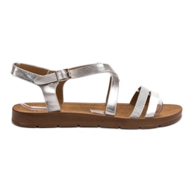 Filippo Silver Sandals With Crystals grey