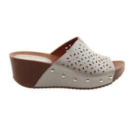 Women's slippers at wedge Daszyński 144 silvery bronze