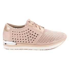 Aclys brown Openwork pink shoes
