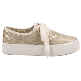 Kylie Sneakers Tied With A Ribbon yellow