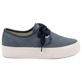 Kylie Sneakers Tied With A Ribbon blue