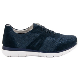 Filippo Navy Leather Sport Shoes blue