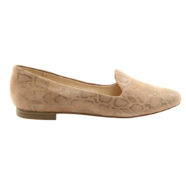 Brown Lordsy women's leather ballet shoes Caprice 24203 beige